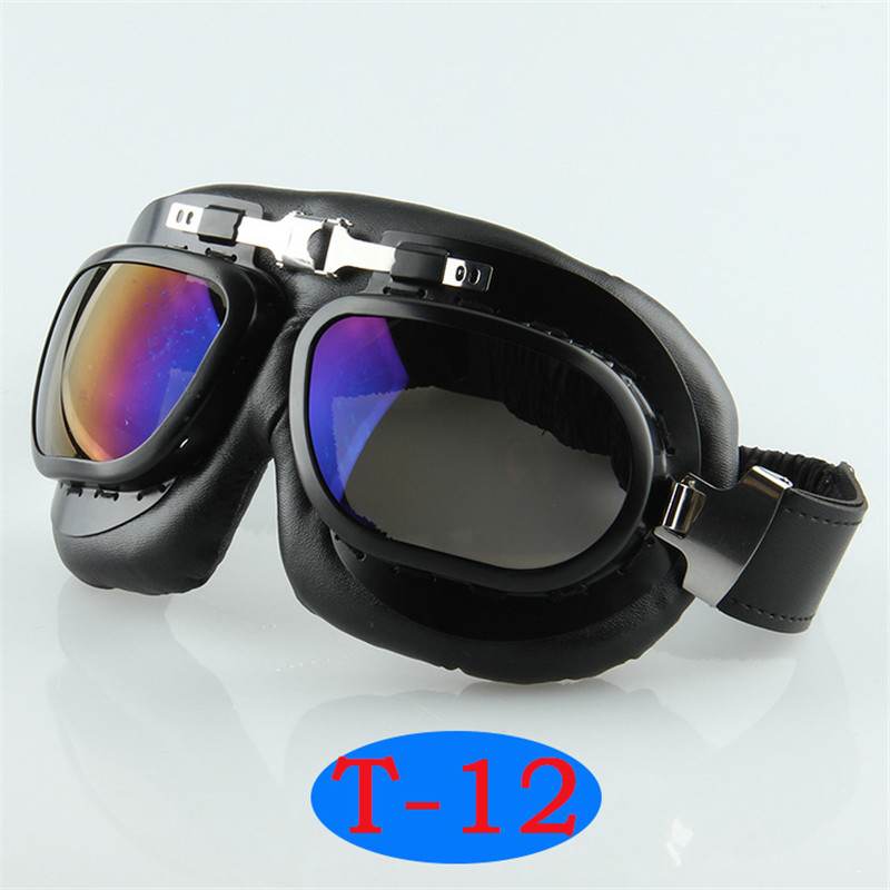 Reflective Anti UV Cycling Goggles For Harley Style Helmet Vintage Pilot Goggles Dirt Bike Off Road Motocross Goggles Sunglasses