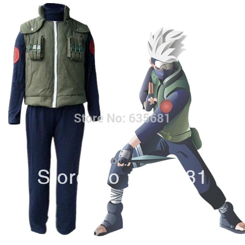 Free Shipping Cos Customization Men Naruto Hatake Kakashi Cosplay Costume Clothes Clothing Set Vest Coat Pants Size S M L XL XLL