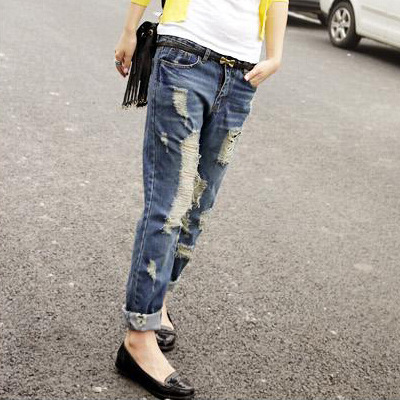 Hot sale Women's ripped jeans Fashion boyfriend jeans for woman Loose hole denim pants Large size women fat MM waist jeans nouba губная помада rouge bijou 2 4мл