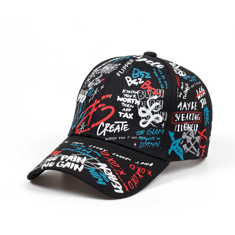 8e10ad4a627 ... 2018 brand Summer Baseball Cap Graffiti Sun Caps Hip Hop Visor Spring  Hat Adjustable Snap- ...