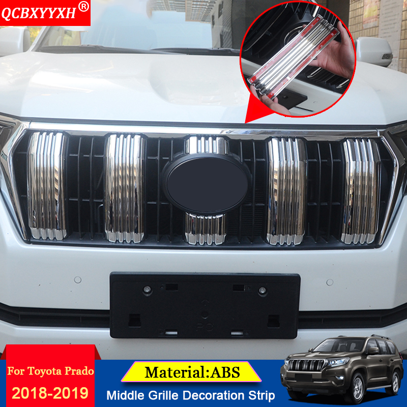 QCBXYYXH Car Styling Chrome Front Grille Hood Engine Cover Trim External Sequins stickers Accessories For Toyota Prado 2018 2019