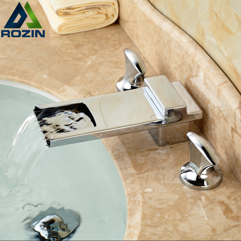 Chrome Brass Waterfall Long Spout Bathroom Basin Faucet Deck Mount Washbasin Mixer Water Taps Dual Handle