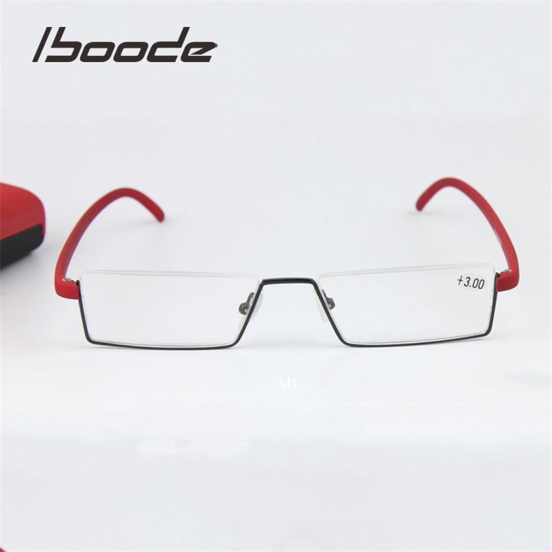 IBOODE TR90 Metal Half Frame Square Reading Glasses Women Men Presbyopic Eyeglasses Female Male Hyperopia Eyewear Spectacles