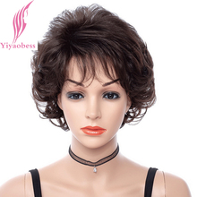 Yiyaobess 8inch Short Curly Wig Female Afro Synthetic Natural Hair African American Wigs For Black Women newest cheap afro kinky curly synthetic wig african american short wigs for black women curl female wig free shipping