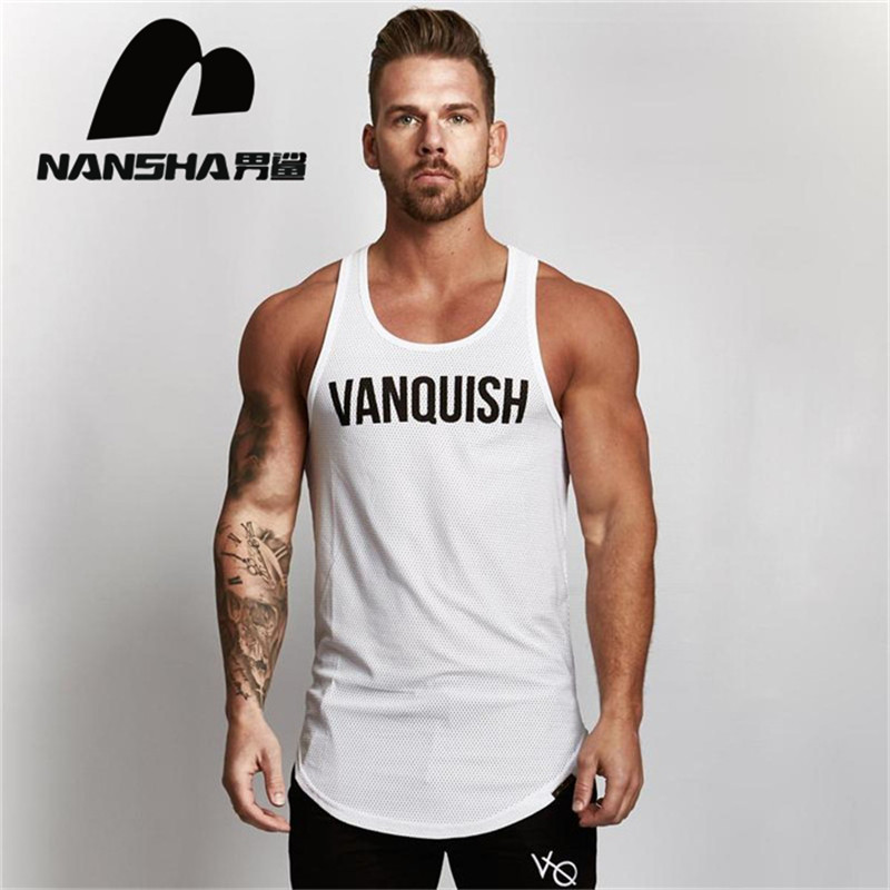 2019 New Brand Mens Mesh   Tank     Tops   Men VANQUISH Breathable Stringer Vest Casual Men's Cotton Fitness clothes   tank     top