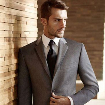 2017 New Custom Made Fashion grey mens suit smoking Slim groom terno Tuxedo Fit Men Wedding Business Party Suits (Jacket+Pants)