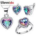 50% Off Colorful Crystal 925 Sterling Silver Wedding Bridal Jewelry Sets Earrings Ring Necklace Set Jewelry Bijoux Uloveido T481