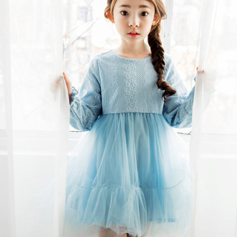 mesh patchwork girls princess dress long sleeve autumn spring 2017 new pink blue baby teenage girl dress children clothing guess new pink long sleeve ruched body con dress xl $89 dbfl