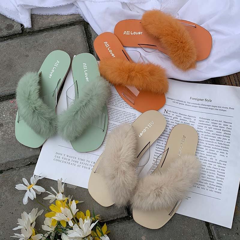 Slides Slippers Fur Women Shoes 2019 Fenty Beauty Sliders Plush New Luxury Flat Rubber Fabric PU Fretwork Basic Shoes Slippers