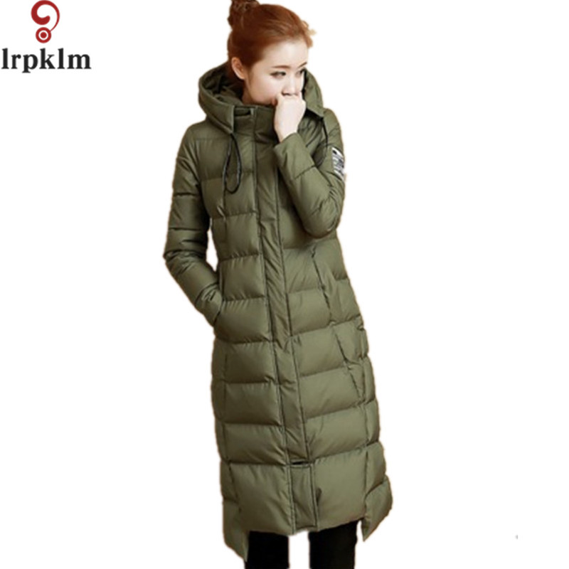Winter New Cotton-Padded Jackets Solid Long Hooded Coats Women's Slim Outerwear Wadded Winter Parkas Fashion Jacket LZ182 new 2017 winter cotton coats women jacket stitching slim parkas hooded feather padded female long outerwear abrigos mujer 1056