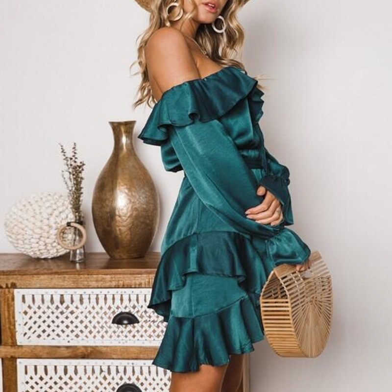 High Quality Vintage Slash Neck Party Dress Women Bow Off Shoulder Ruffles Dress Autumn Lace Up Satin Dress