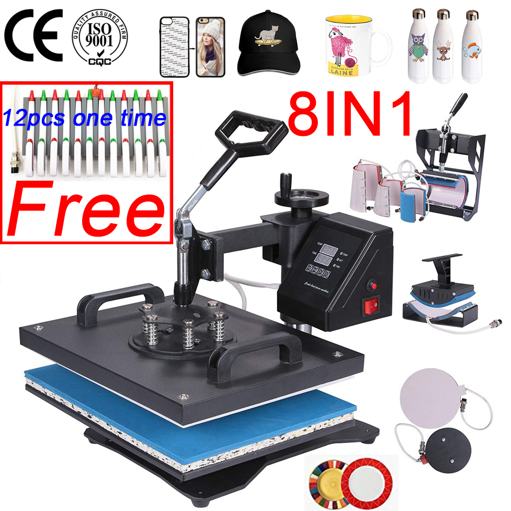 Double Display Control New  8 In 1 Combo Heat Press Machine Sublimation Thermal Printer For Mug/Cap/T Shirt/Phone Case/pen