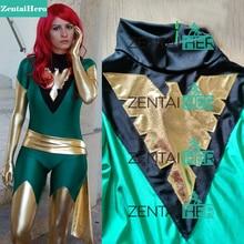 Free Shipping DHL Jean Grey Costume X Men Phoenix Lycra Spandex Green and Shiny Metallic Gold