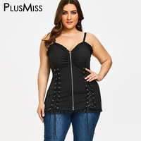 PlusMiss Plus Size 5XL Criss Cross Zip Lace Up Slip Vest Top Tunic Sleeveless Tank Top
