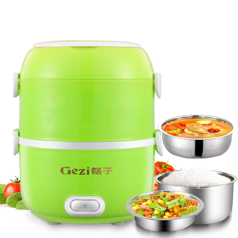 Electric Lunchbox Rice Cooker Portable Heating Insulation Double Cooking Hot Rice Cooker 2L Automatic Power-off 1-2 People lunchbox electric portable rice cooker can be plugged in electric heating automatic heat preservation cooker