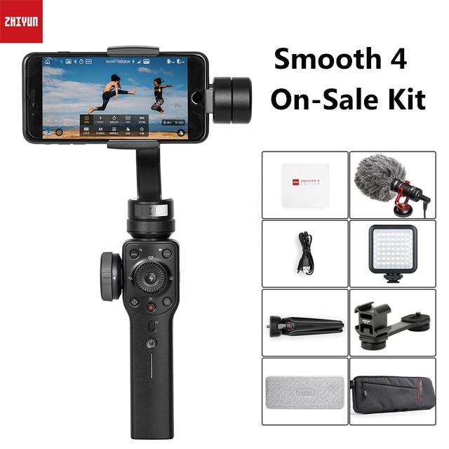 Zhiyun lisse 4 cardan Smartphone 3 axes stabilisateur de téléphone portable pour iPhone X 8 Xiaomi Gopro 7 5 caméras d'action Samsung S10