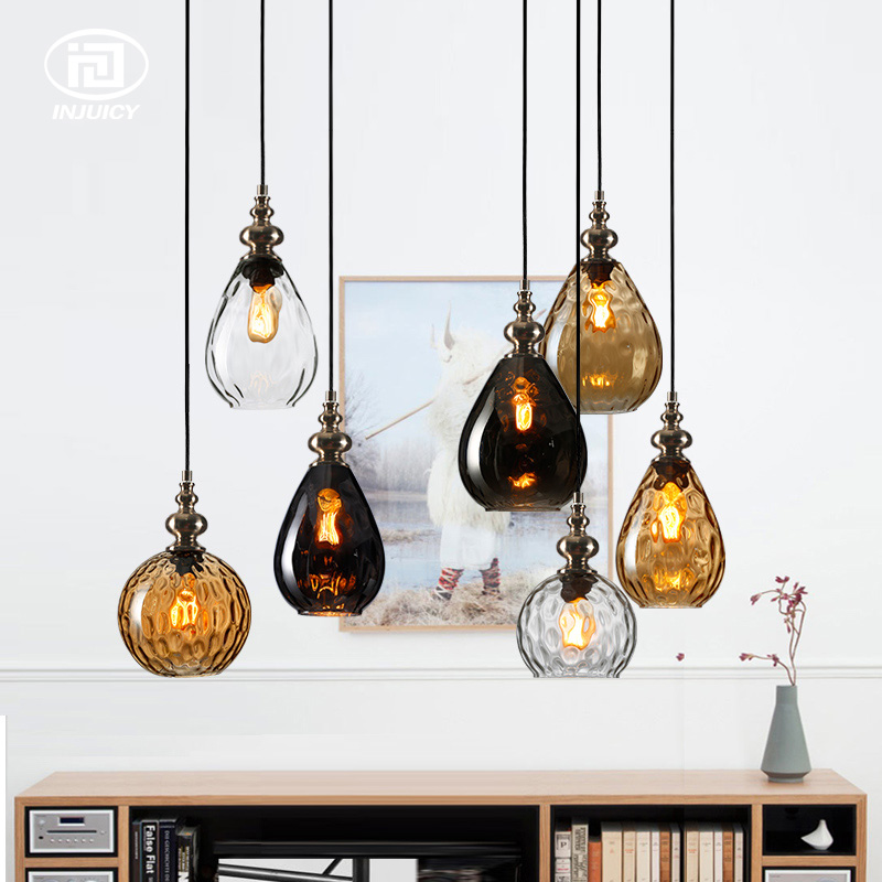 Loft Edison Vintage Wooden Pendant Lamp Simple Single Multicolor Glass Droplight Bedroom Restaurants Cafe Decorate Celling Lamp loft retro edison vintage industrial multicolor glass restaurants cafes single contracted bar counter droplight ceiling lamp