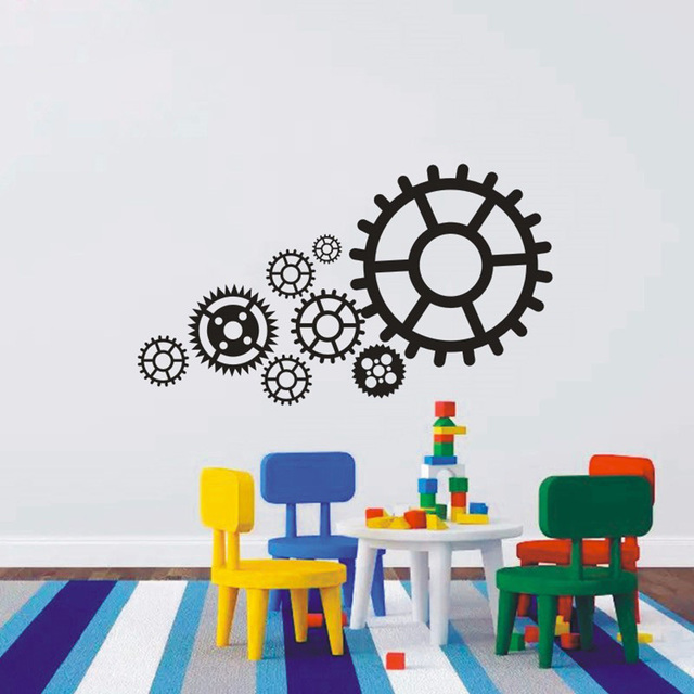 T080035Different Size Gear Wall Sticker Home Decor Kids Wall Sticker  Bedroom Wall Art Mural Decor Steam