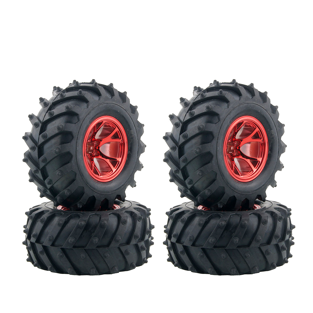 4PCS RC Monster Truck Wheel Rim Tires Kit for 1:10 Traxxas Tamiya HSP HPI Kyosho RC Trucks Car Rubber Tyre Parts 4pcs high grip black rubber tyre wheel tires for 1 10 4wd rc on road touring car traxxas tamiya hsp hpi kyosho
