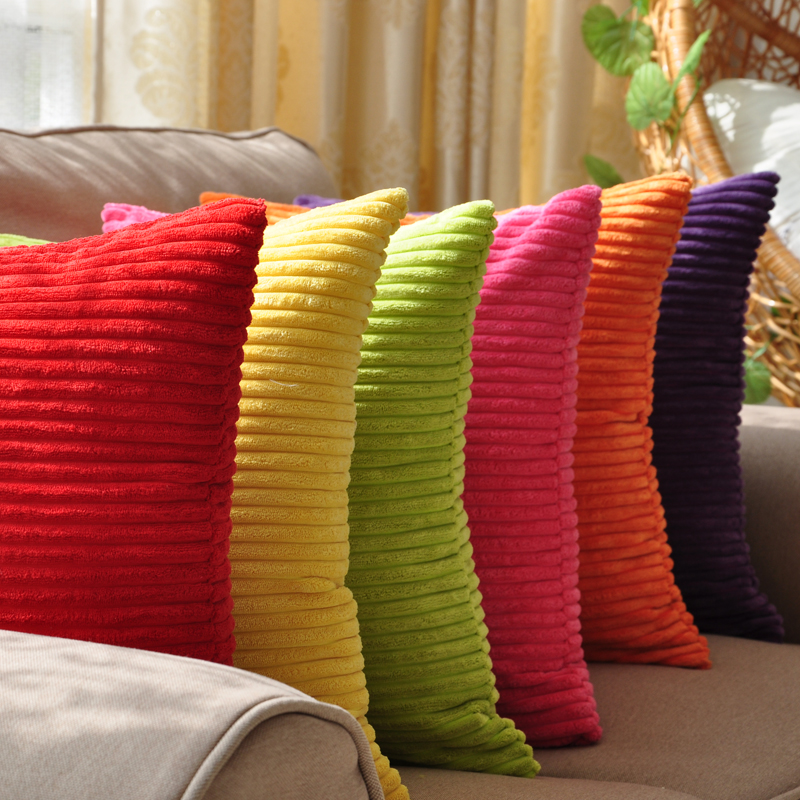 candy color strips corduroy cushion cover car sofa pillow case with zipper multi sizes