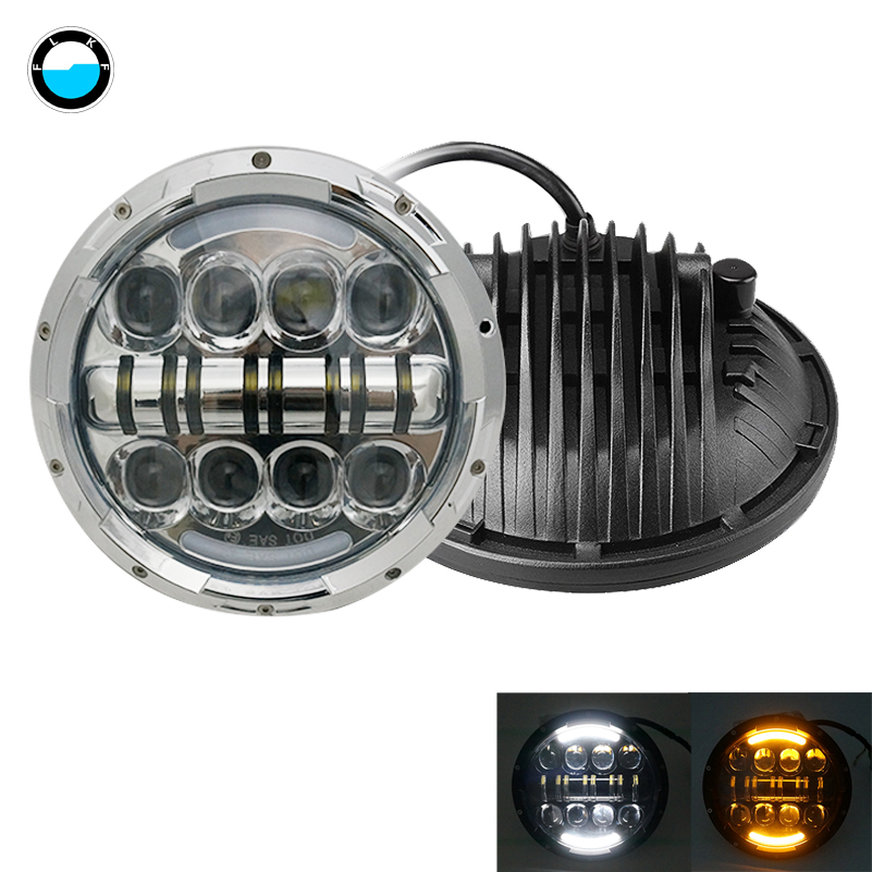7inch LED Headlight For Jeep Wrangler JK LJ CJ 80W Angle Eyes with Amber Signal Halo DRL Halo for Harley Motorcycles Daymaker. pair 7 inch round high low led headlight with amber signal halo ring angle eyes with drl halo for 97 15 jeep wrangler jk tj