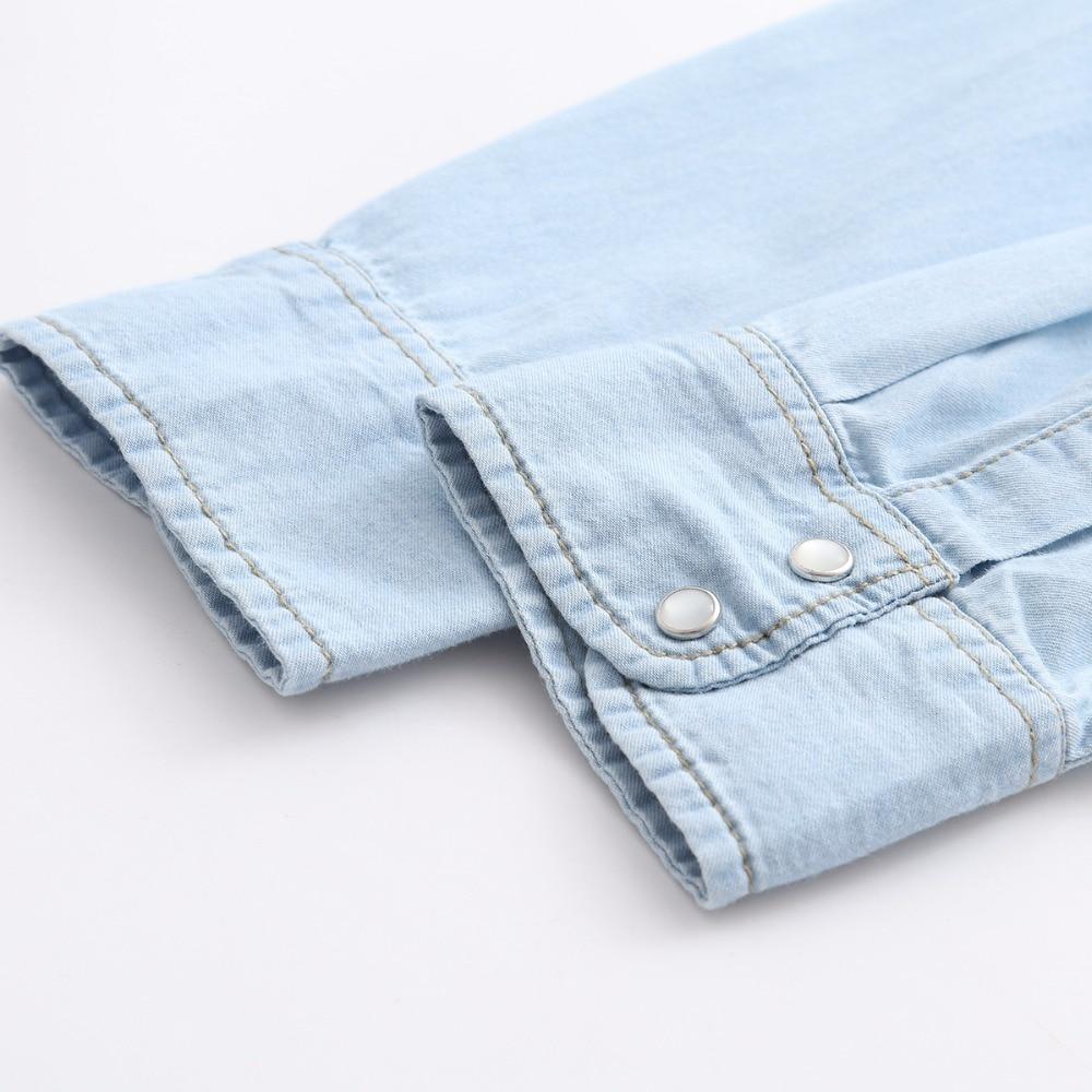 Kvinnors Denim tröja Jeans Skjortor för kvinnor Kärlek Långärmad - Damkläder - Foto 5