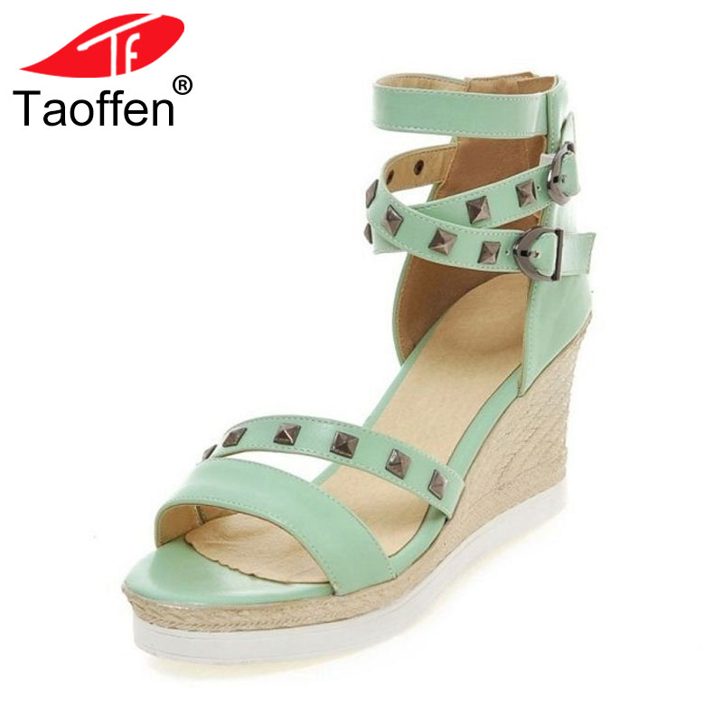 TAOFFEN Size 34-43 Fashion Womens High Wedges Sandals Summer Rivet Ankle Strap Wedges Sandals Vacation Shoes Women Footwear