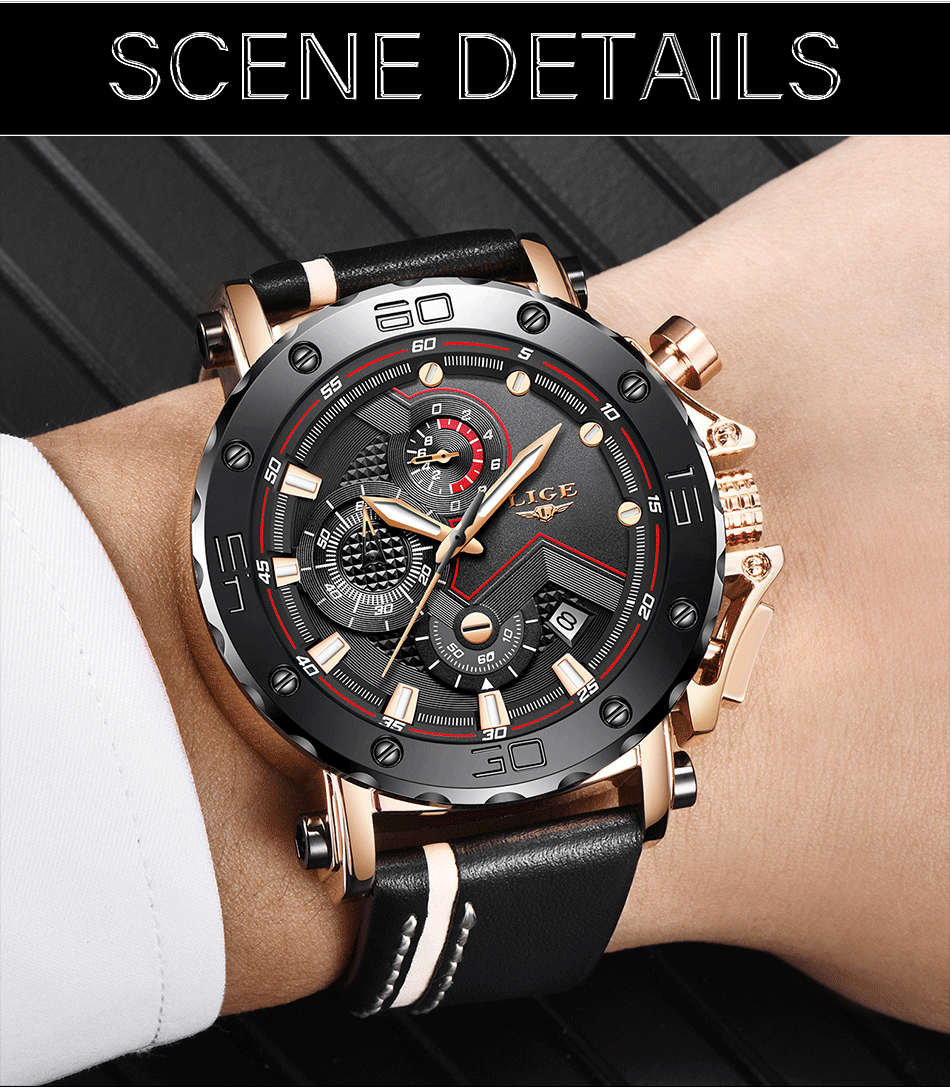 HTB16SdHao rK1Rjy0Fcq6zEvVXay Relogio Masculino New LIGE Sport Chronograph Mens Watches Top Brand Casual Leather Waterproof Date Quartz Watch Man Clock