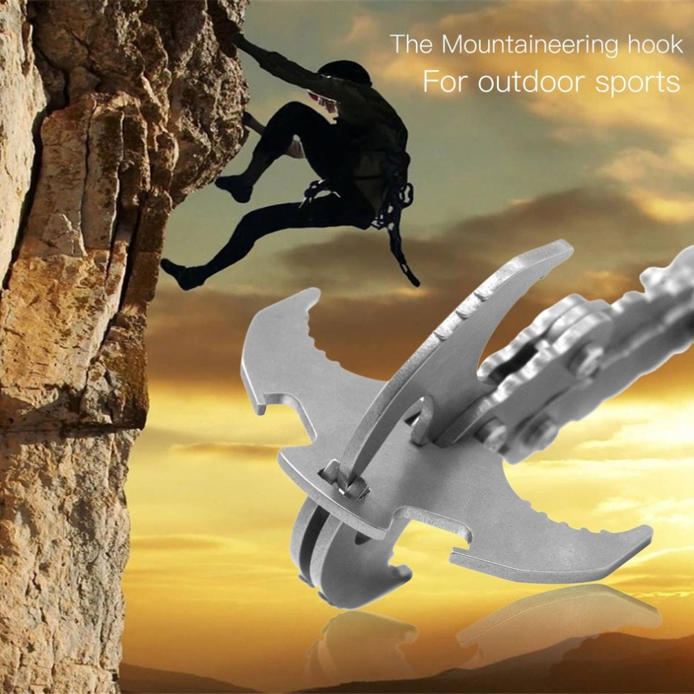 Stainless Steel Survival Folding Grappling Hook Multifunctional Outdoor Climbing Claw Outdoor Carabiner Gravity Hook grappling black diamond hook