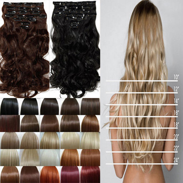 Cheap Price Clip In Hair Extensions Real Synthetic Full Head 8 Piece DIY Natural Hot