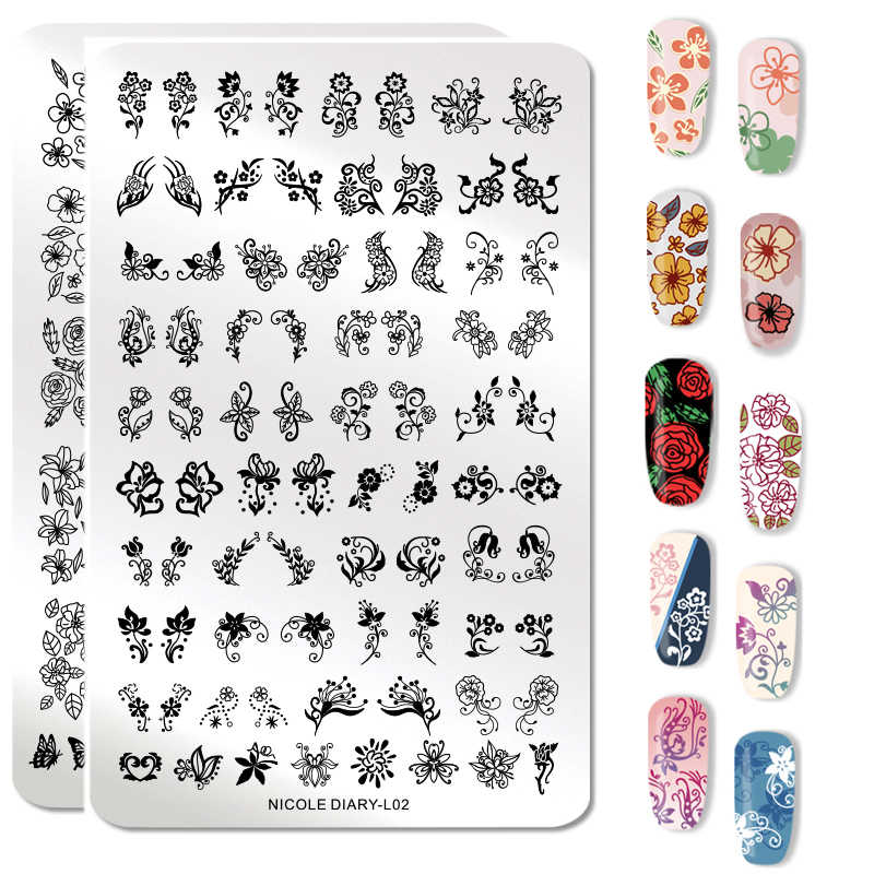 Nicole Diary Nail Stamping Plates Flower Geometry Lace Theme Nail Template Mandala Leaf Stamp Nail Art Stamp Image Template