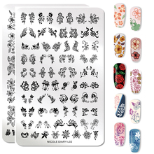 Nicole Diary Nail Stamping Plates Flower Geometry Lace Theme Template Mandala Leaf Stamp Art Image