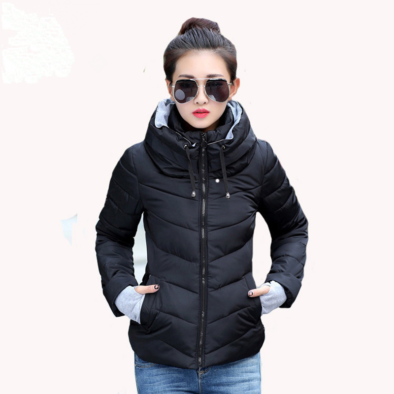 Winter Jacket Women Cotton Short Jacket 2017 New Girls Padded Slim Hooded Warm Parkas Stand Collar Coat Female Autumn Outerwear mozhini winter jacket women cotton short jacket girl padded slim hooded warm parkas fake fur collar coat female autumn outwear