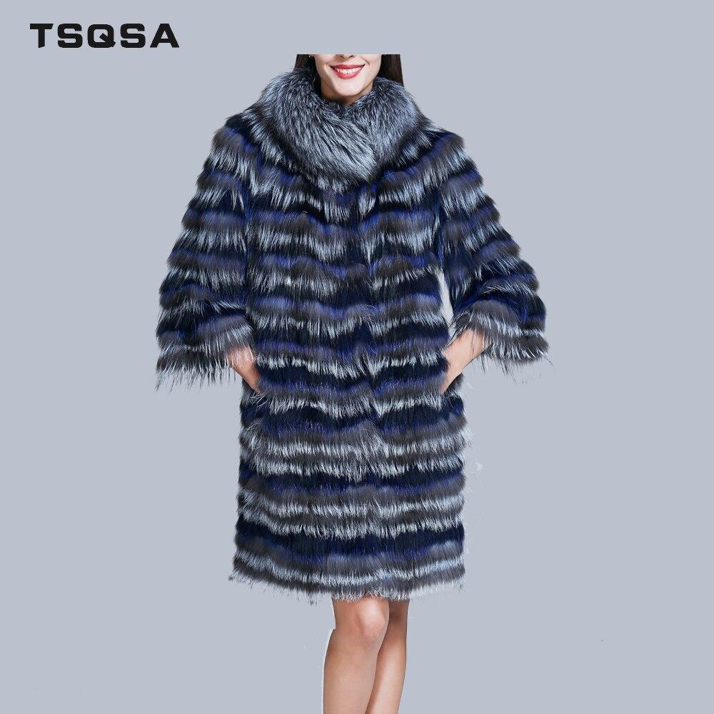 Fox Trois Dame Rayé Tc1738 Mode Vêtements Naturel Silver Manteaux Mince Survêtement Femmes Pardessus Fourrure Trimestre Femelle Multi De wPgqOp
