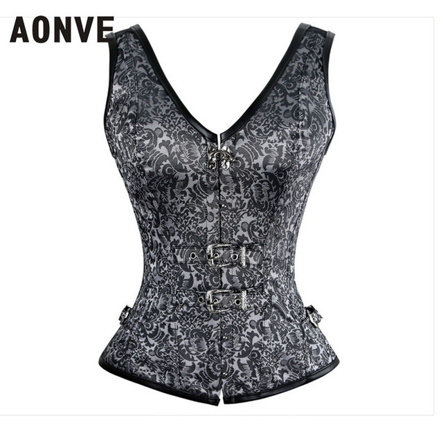 Silver Grey Corset with Strap Steampunk Corset Spiral Steel Boned Jacquard Overbust Corset Vest Top Gothic Corselet Espartilhos