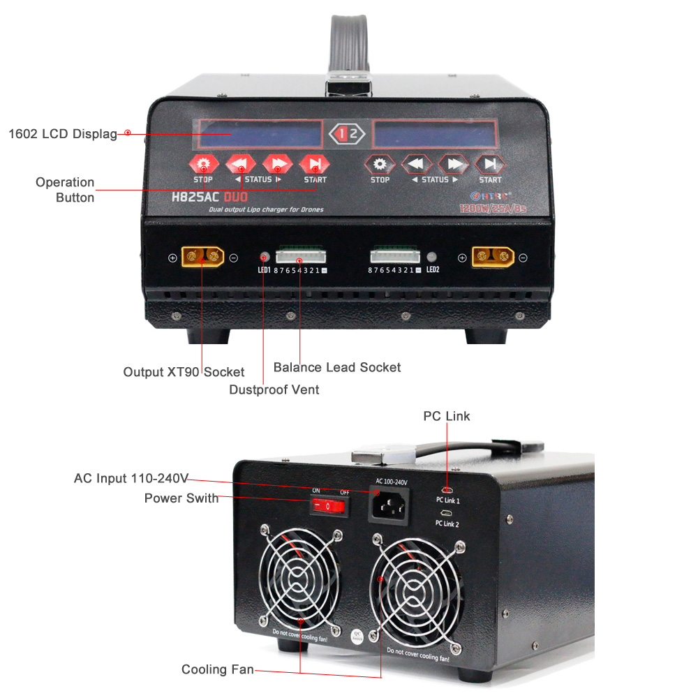 Image 5 - HTRC 1200W Dual Port Battery Drone Balance Charger High Power H825AC DUO 25A 1 8s  Lipo/Lihv For Rc Agricultural Spraying UAVbalance chargerlipo 1-8sbattery balancer -