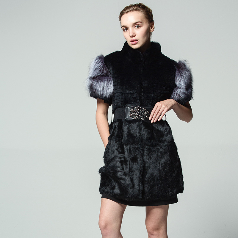 2017 New pattern Real natural rabbit fur Vest fashion Fox fur cuffs Round neck With belt Russia winter Woman 5XL Loose coat