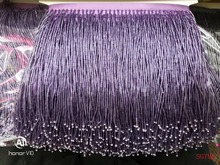 purple Handmade 15cm wide beaded fringe trimming,5yard, about 270 beads threads/yard SGTM1