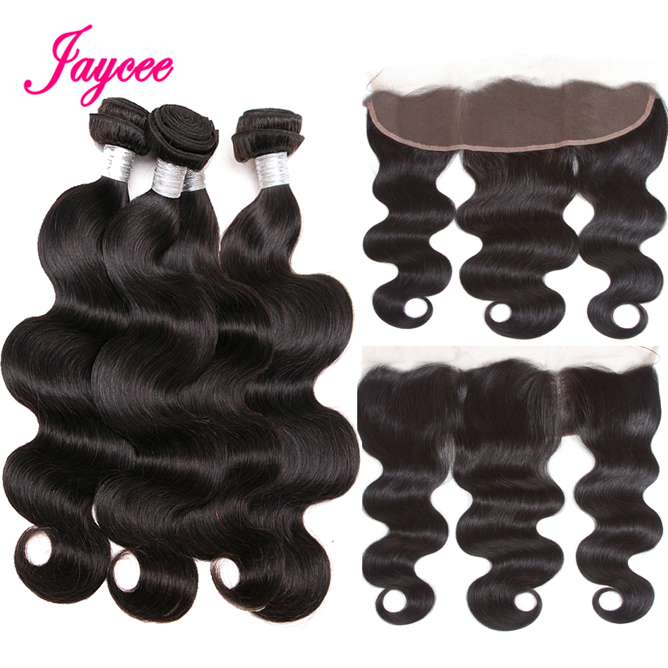 Jaycee Brazilian Body Wave Bundles With Frontal 13x4 Lace Frontal Closure With Bundles Non-Remy Human Hair Bundles With Closure