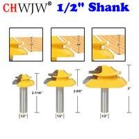 """1/2 """"Shank 45 stopni blokady ukośnego Bit 3 pc. Klej wspólne zestaw frez do drewna czop frez do obróbki drewna narzędzia w Frez od Narzędzia na"""