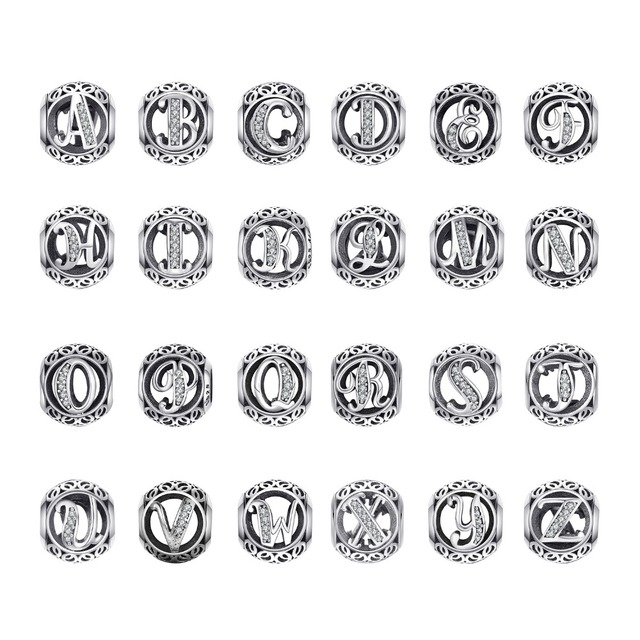 9a79baade101 JewelryPalace Vintage Letter A-R Cubic Zirconia Aucthentic 925 Sterling  Silver Charm Bracelet Bangle DIY Jewelry Gifts