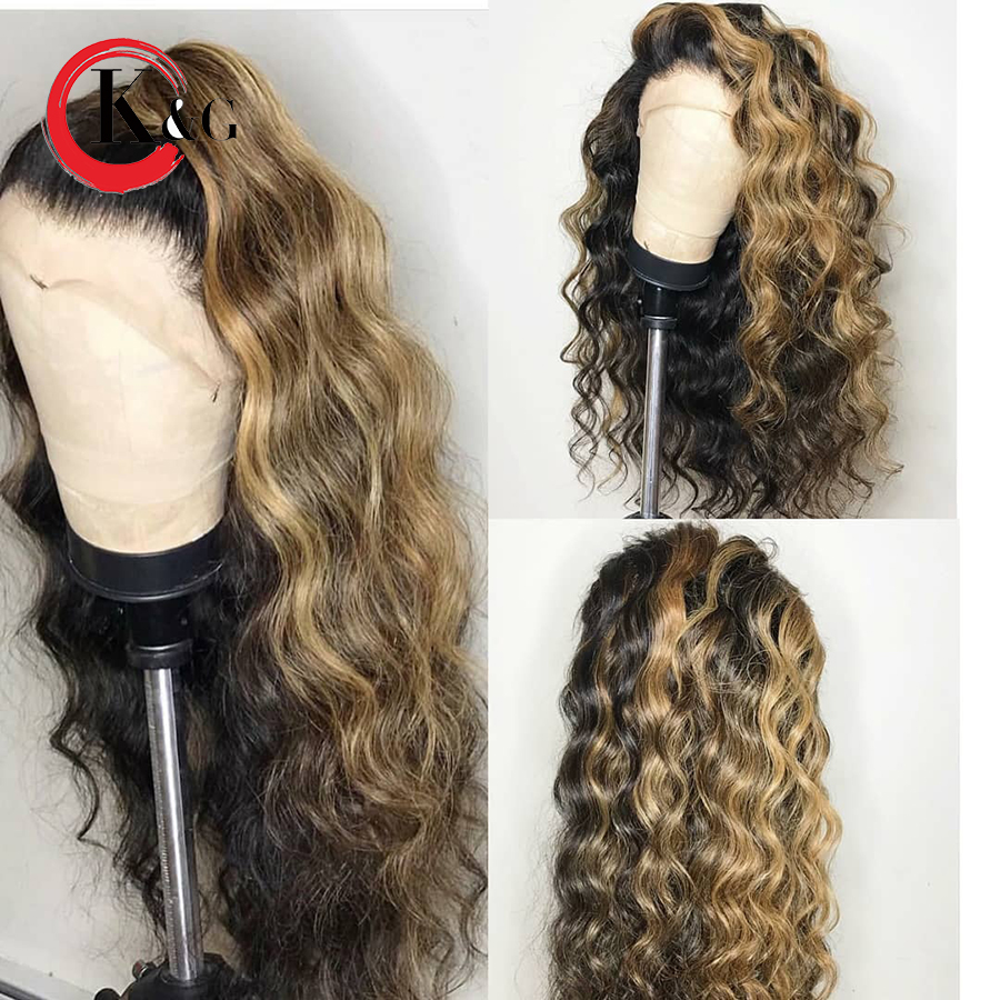 KunGang Lace Front Human Hair Wigs Ombre Color With Baby Hair Brazilian Remy Hair 13 4