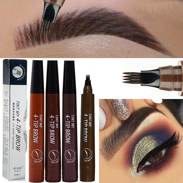 4 Fork Tip Fine Sketch Enhancer Eyebrow Tattoo Pen Waterproof Microblading Eyebrow Tattoo Tint Henna Eyebrow Gel Makeup Tools