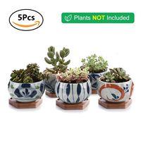 T4U New Plant pots Ceramic Flower pot for cactus Succulent planter Pot Flowerpot with Bamboo Tray garden decoration 5pcs/lot