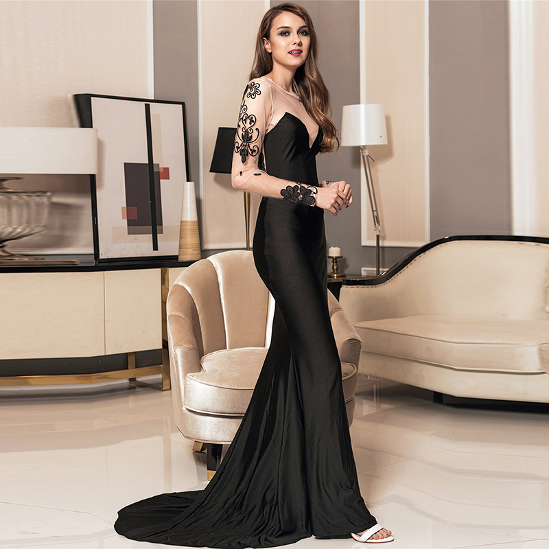 Comeondear Robe Longue Femme Ete Embroidery Party Gown Dresses Long Sleeve  Mesh Formal Vintage Dress Evening Vestidos De Festa 66288b6f854a