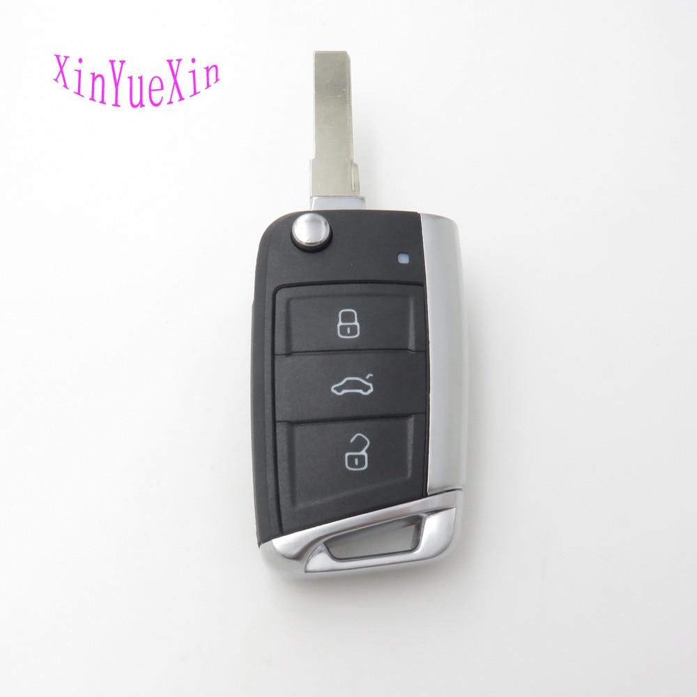 Xinyuexin Folding Remote Key Shell FOB Case For VW Golf 7 For Skoda Octavia A7 Flip 3Button Flip Car Key <font><b>Cover</b></font> For Golf MK7
