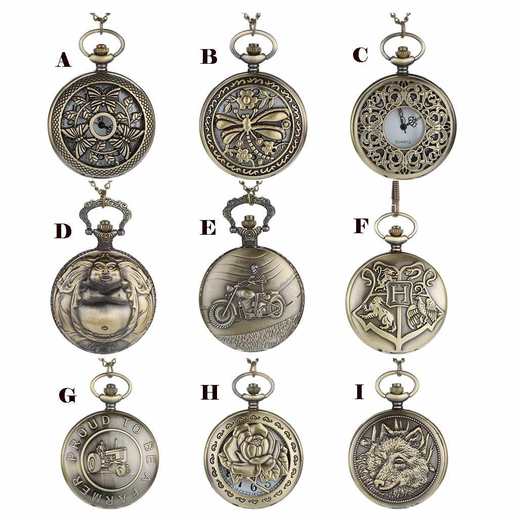 2019 Fashion Personalized Pattern Steampunk Vintage Quartz Roman Numerals Pocket Watch Montre Relogio Watches Men Reloj Hour
