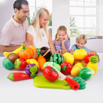 Hot ! 29Pcs/Set Kids Kitchen Toys Fruit Vegetable Cutting Food Play Early Development and Education Toys for Baby Pretend Play 1