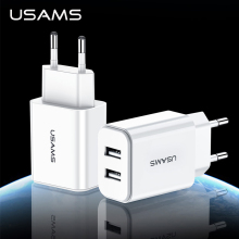 USAMS USB Charger 2.1A Universal Phone Fast Charging Travel Adapter for iPhone X 8 6 Dual Ports Wall Samsung Xiaomi