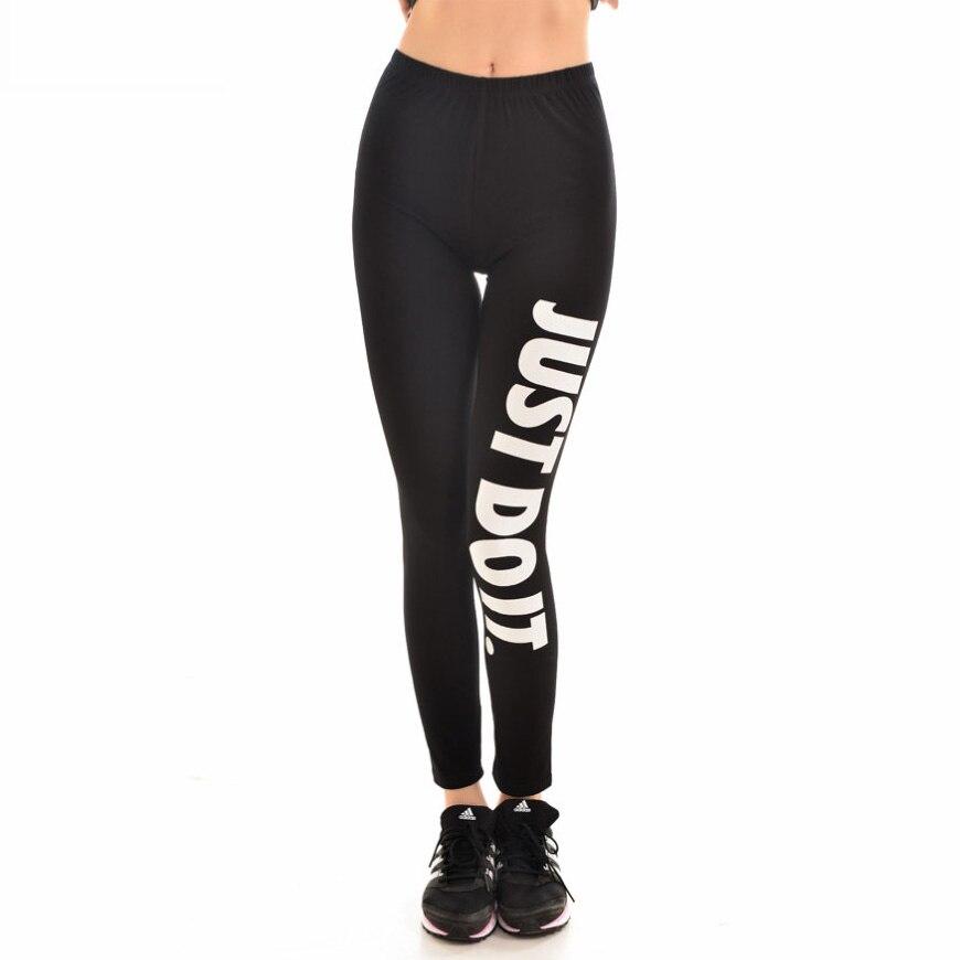 New 9094 Sexy Girl GYM Slim Leggings Black White Just Do It Dot Letter Printed Running Fitness Sport Women Yoga Pants Plus Size